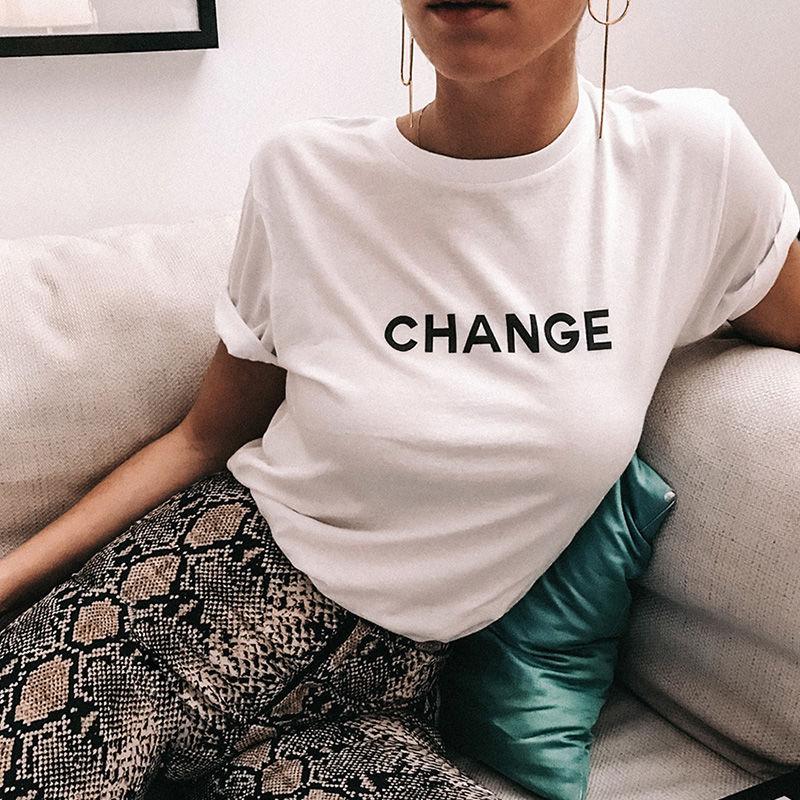 简约字母change印花短袖t恤女宽松纯棉欧货半袖女bf风上衣夏新品