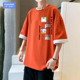 夏季加肥加大码上衣服宽松胖子男士短袖t恤韩版潮流印花圆领体恤图片