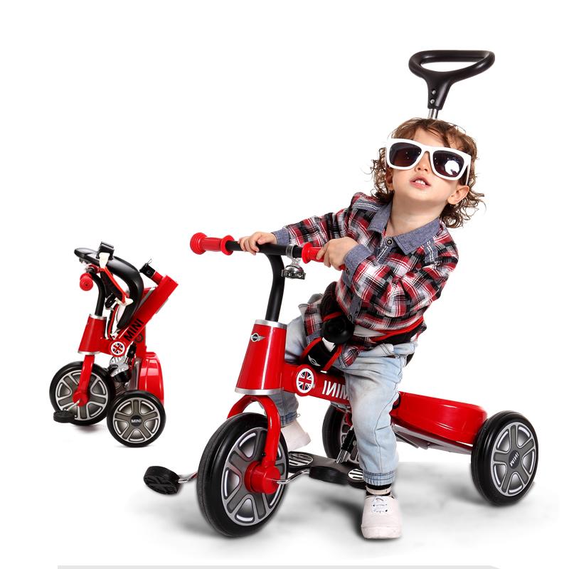 rastar 星輝寶馬mini兒童折疊三輪車童車 1~3歲寶寶手推車腳踏車