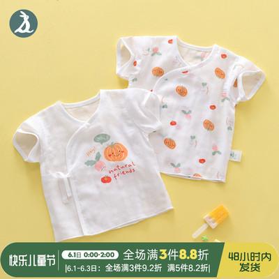 新生儿衣服纯棉上衣0婴儿纱布短袖夏季薄款早产宝宝初生和尚服2件