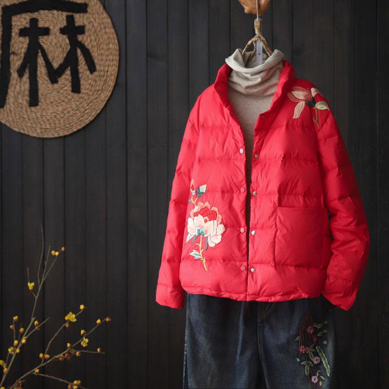 文艺复古刺绣短款羽绒服女2020冬季新品宽松立领白鸭绒保暖冬外套