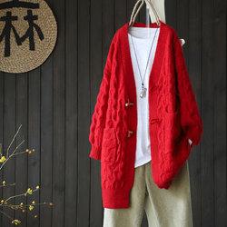 秋冬新品纯色加厚中长款外穿毛衣开衫女百搭文艺风宽松针织衫外套