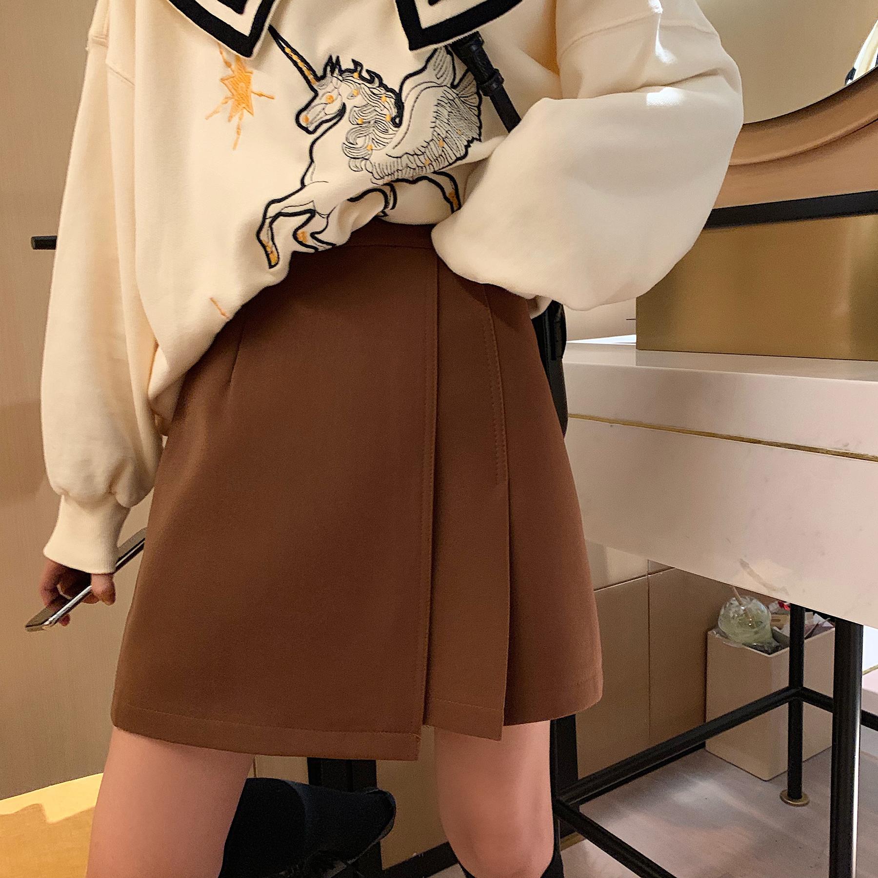 韩版高腰不规则法国小众侧边百褶裙满79.00元可用1元优惠券