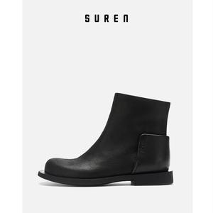素人原创设计 骑士短靴女真牛皮女式靴子真皮靴百搭 19DWG002