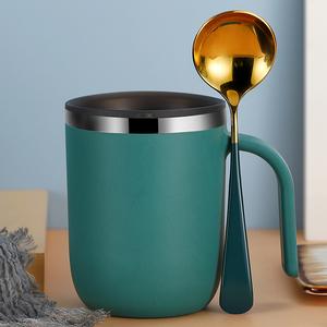 304不锈钢马克杯带盖勺创意个性杯子可爱早餐杯情侣喝水杯咖啡杯