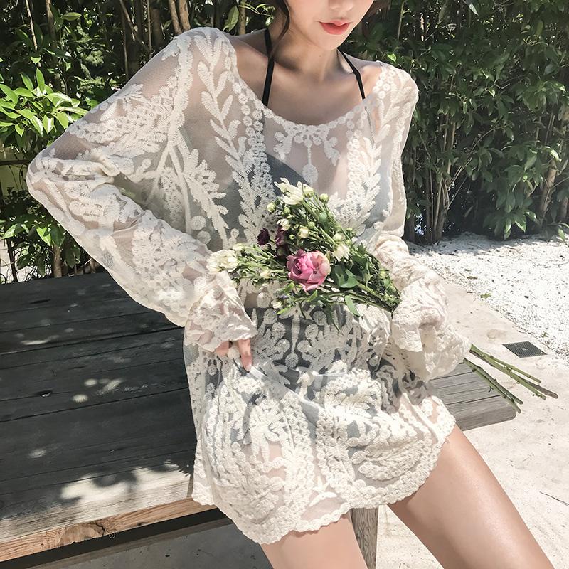 韩国2020年新款性感比基尼显瘦遮肚ins保守温泉女士游泳衣三件套