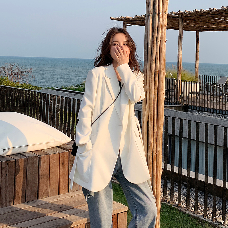 White Blazer coat womens 2021 spring and Autumn New Korean loose net red high-grade fried Street suit top