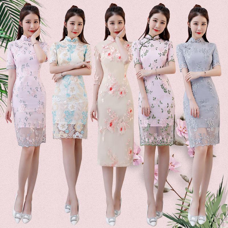 旗袍夏季2018新款女改良重工刺绣年轻小香风蕾丝中长款修身旗袍裙