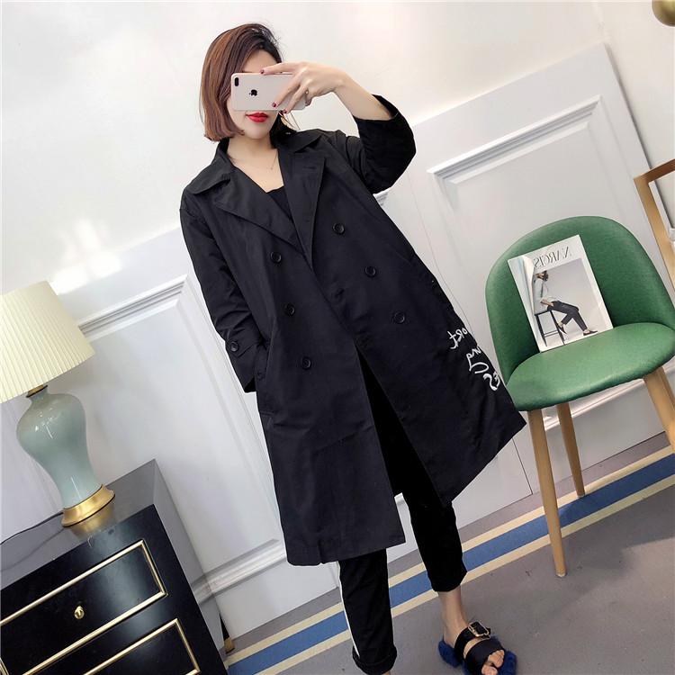 C-K44  刺绣风衣  春秋新款女装 西装领双排扣中长款外套