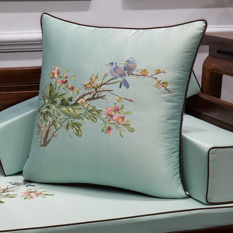 布一堂�F代新中式抱枕沙�l靠� 花�B刺�C1033家用靠枕腰枕不含芯
