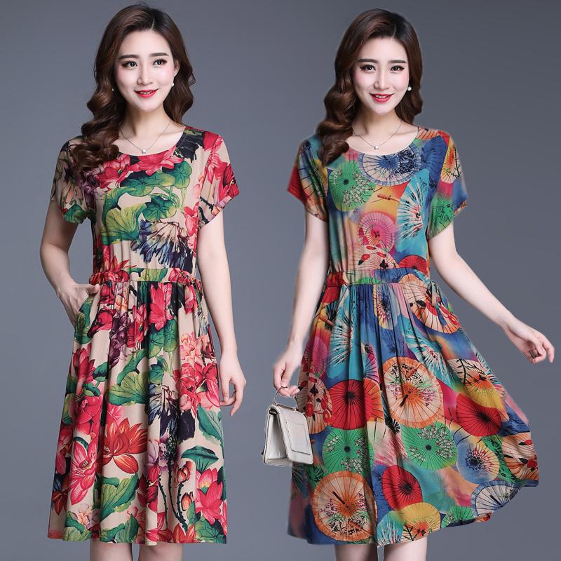中老年女装棉绸连衣裙40-50岁中年妈妈装短袖大码修身碎花裙子夏