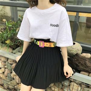 实拍已检测夏季新款韩版时尚休闲纯色百褶短半身裙送腰带