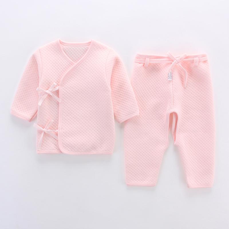 新生兒衣服0~3個月純棉 嬰兒保暖內衣套裝 寶寶秋衣秋褲加厚