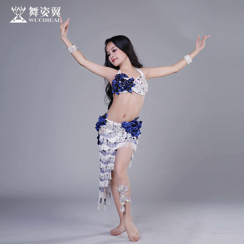 Танец поза крыло ребенок рубец кожа танец практика гонг костюм лето девочки барабан танец практика производительность одежда кисточка юбка RT190