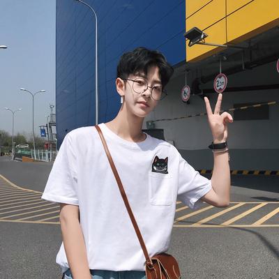 2018夏季新款韩版短袖t恤男士圆领卡通贴布半袖 T65 P35 控价48
