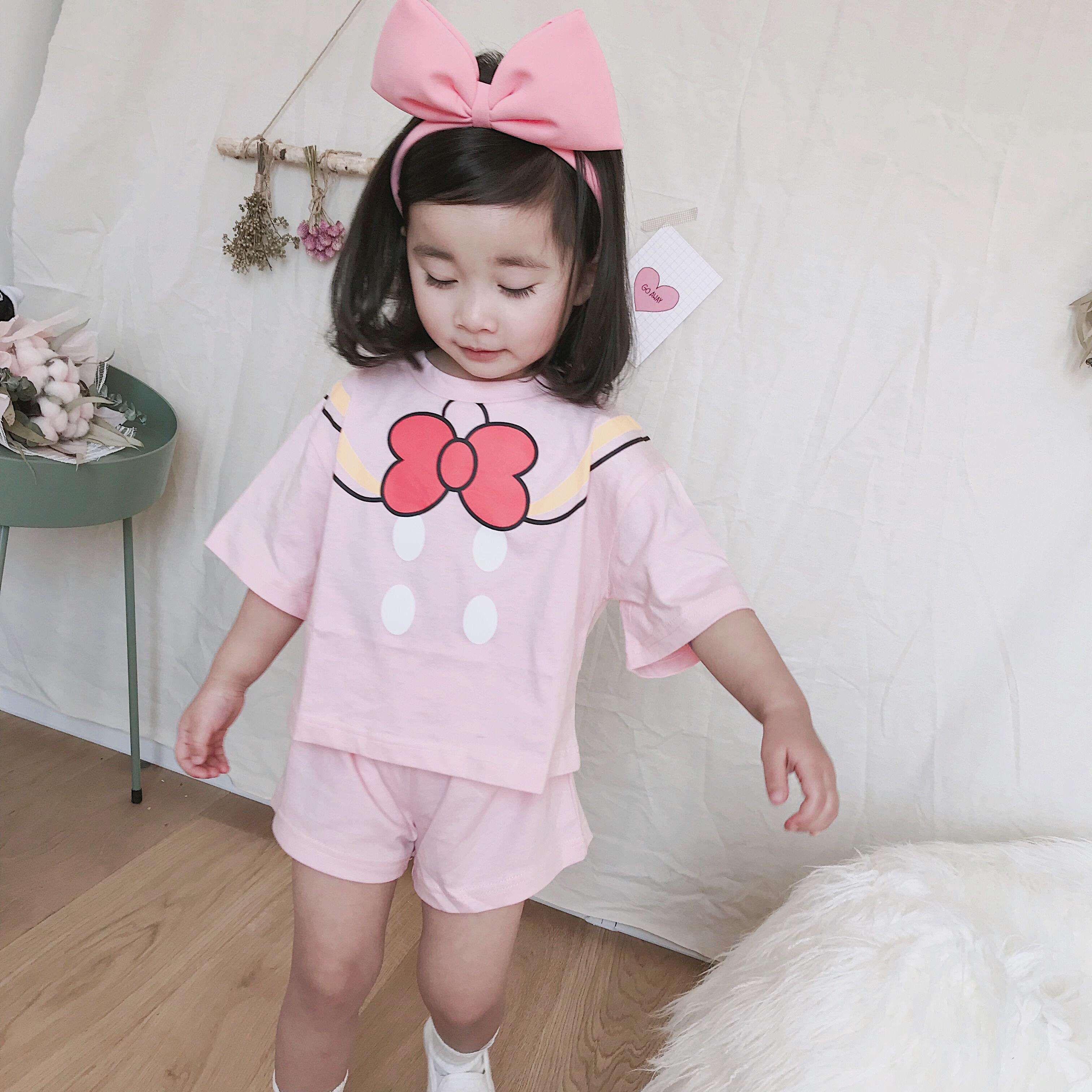 韩版夏款女童宝宝卡通粉色米妮纯棉休闲套装儿童可爱运动两件套