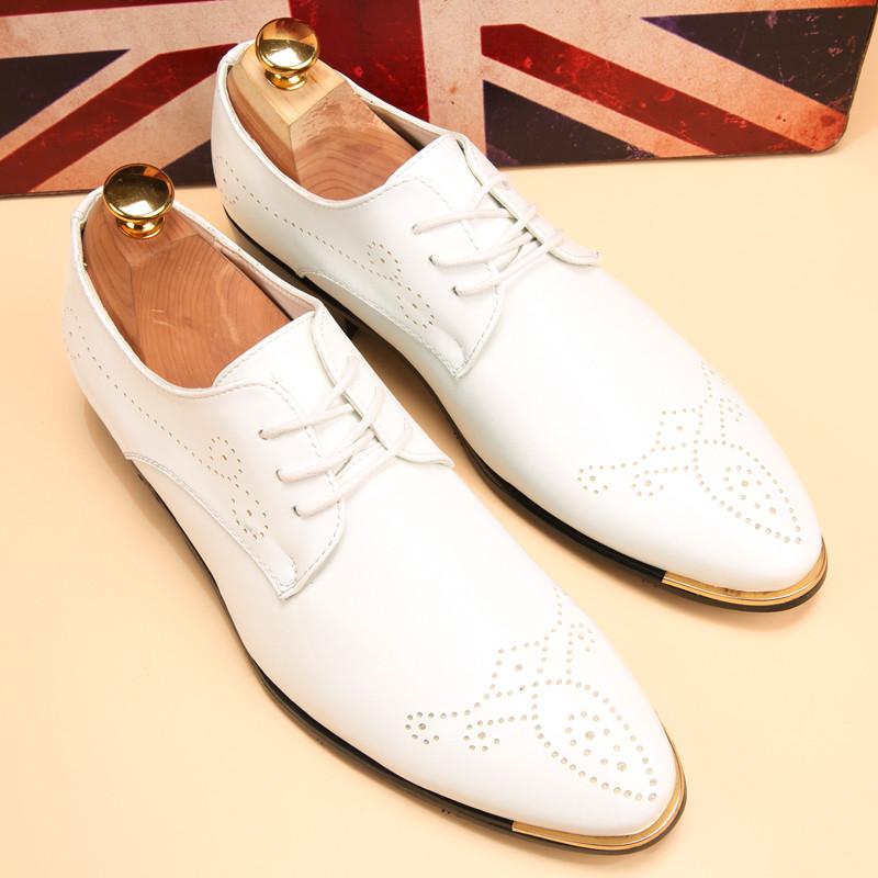 英伦风布洛克雕花尖头皮鞋韩版休闲皮鞋白色个姓流行鞋发型师男鞋