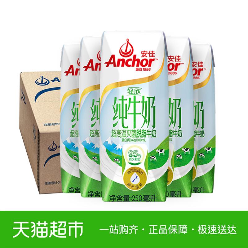 新西兰进口牛奶Anchor安佳脱脂牛奶早餐250ml*24盒纯牛奶整箱