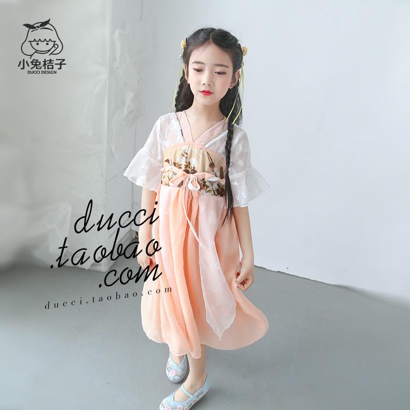 女童汉服复古中国风夏季轻薄雪纺儿童改良襦裙连衣裙公主旗袍裙