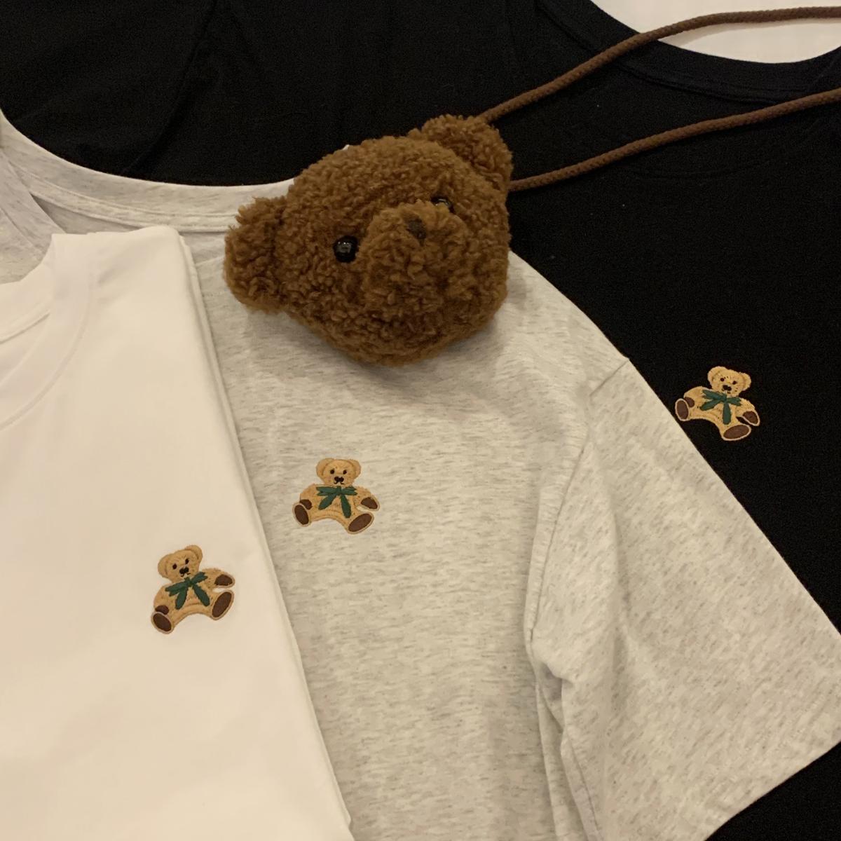 YUKIXIAOSHU自制小熊logo基础圆领纯色短袖T恤女2021春季