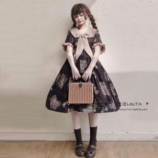 原創正版白菜價lolita夏OP短袖洛麗塔連衣裙日系海軍領日常小裙子
