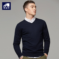 Mo Mak mens wear in autumn and winter 2018 new v collar sleeve thin sweater men Korean plate long sleeve sweater tide