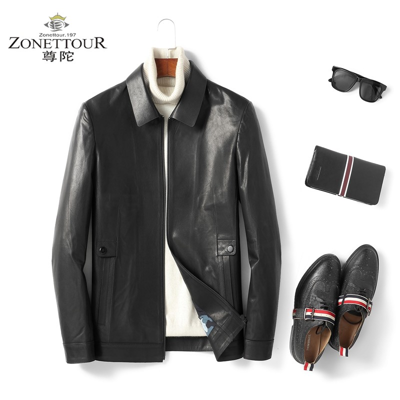 Mens leather jacket autumn and winter new Lapel business casual goat deer Haining youth jacket