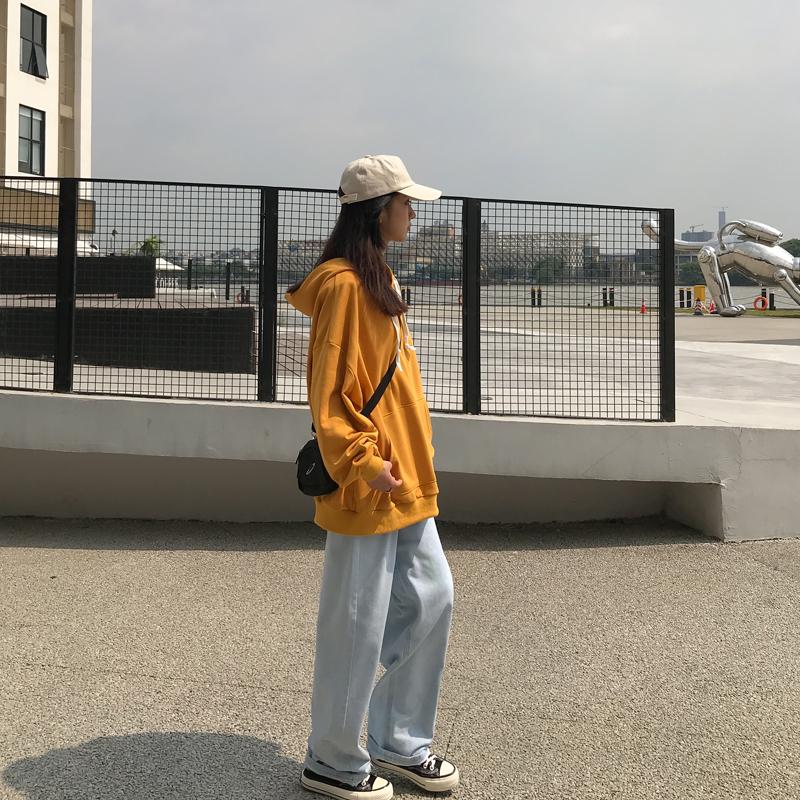 卫衣女2019新款宽松韩版学生bf风oversize纯色连帽上衣中长款外套图片