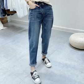 软糯牛仔裤女2020春夏新款韩版大码老爹裤女高腰宽松显瘦BF哈伦裤