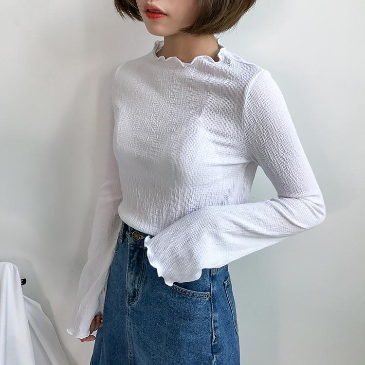 实拍 纯色花边领弹力T恤 #7403