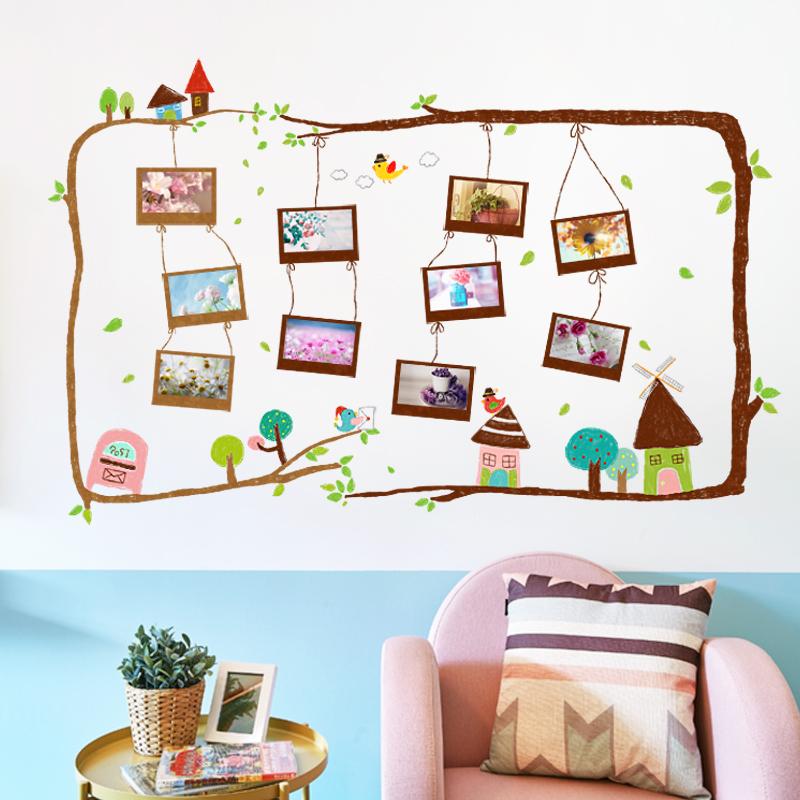 创意彩绘树枝相框墙贴纸创意卧室走廊客厅墙壁装饰照片框自粘贴画