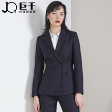 Suit, women's British style, ol fashion, double breasted temperament, goddess style, commuter suit, stripe business suit, formal dress