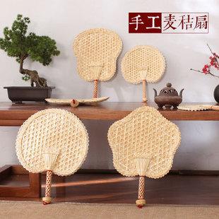 驱蚊芭蕉麦秸草编 复古中国风手工编织扇子随身手摇大蒲扇夏季
