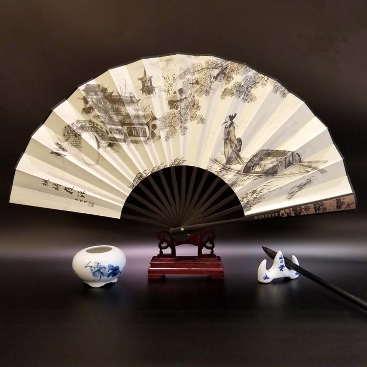 10寸中国古典手工折叠绢布竹扇子