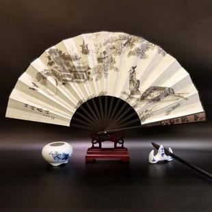 复古风日常随身相声演出道具 10寸中国古典手工折叠绢布竹扇子男式