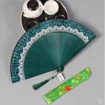 Chinese antique Bamboo Fan small gift craft fan classical fringed decorative dance folding fan Womens practical
