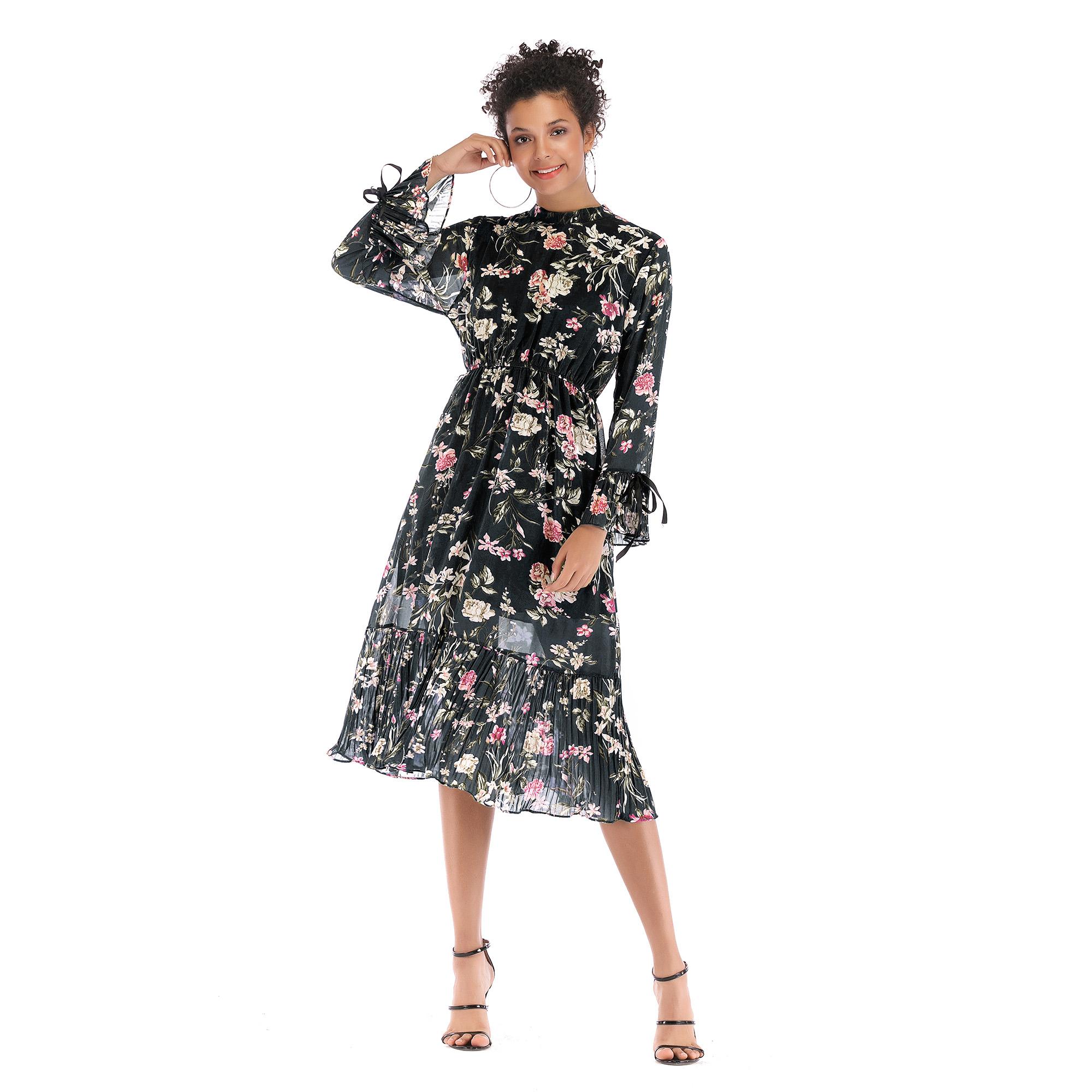 5908 ebay速卖通欧美女装新款长袖系带雪纺裙 中长大摆碎花连衣裙