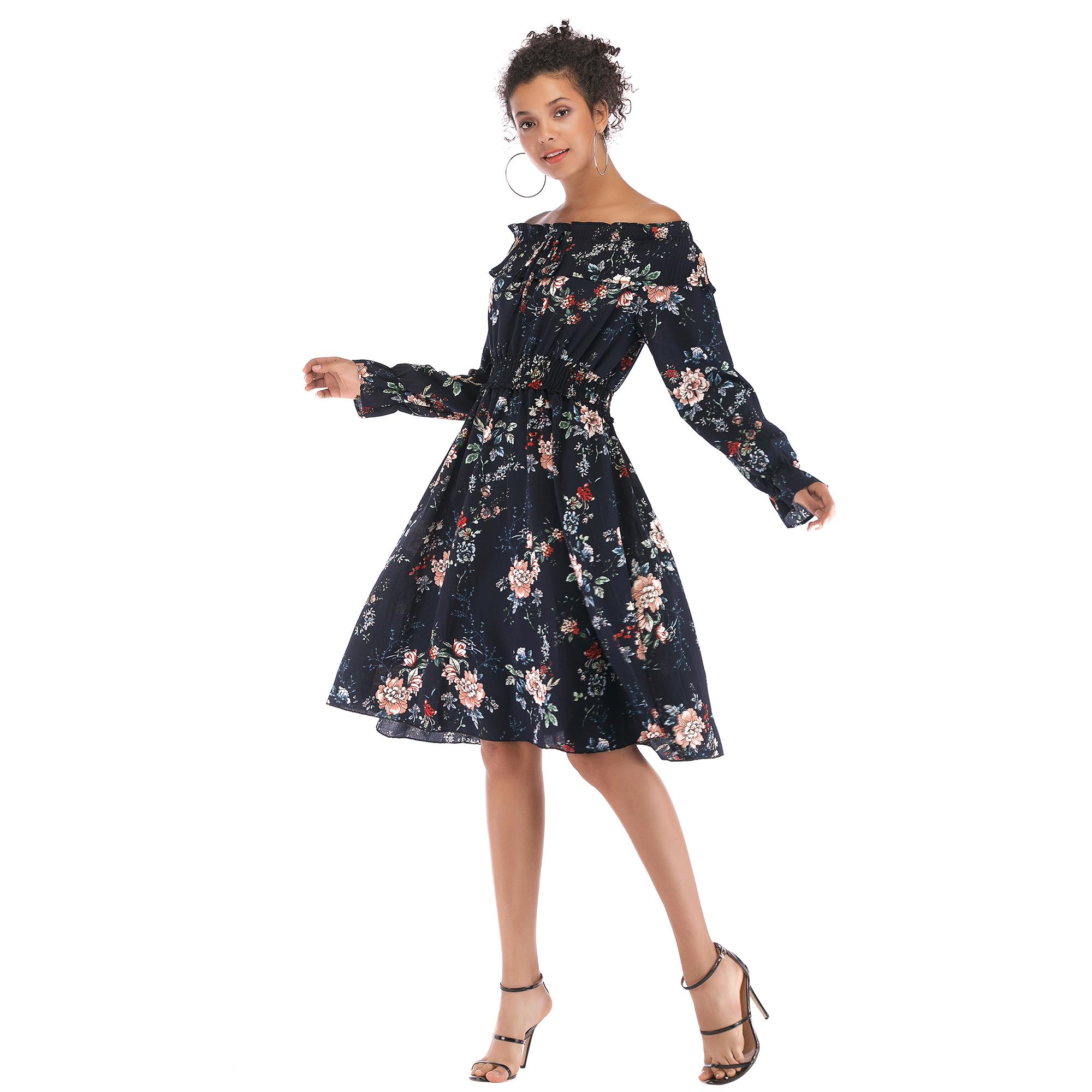5906 ebay速卖通热卖女装欧美复古一字领露肩连衣裙小碎花雪纺裙