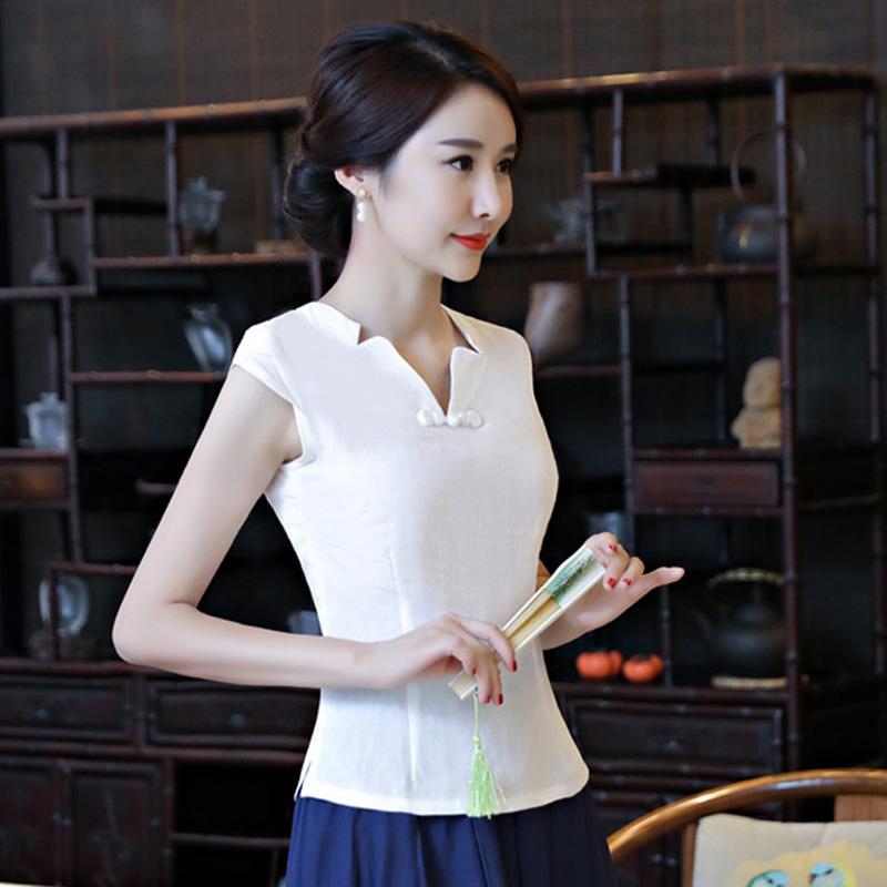 棉麻盘扣上衣服女夏中国风短袖复古女装改良唐装短款白色汉服日常