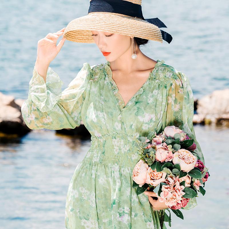2019秋冬新款輕熟風打底連衣裙收腰法式小眾氣質洋氣顯高仙女裙