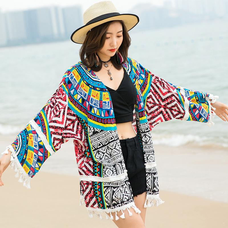 防晒衣装女装夏户外度假沙滩衫2020潮装洋气民族风披肩