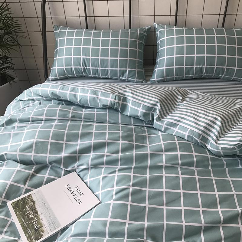 北欧风简约全棉四件套 纯棉条纹格子双人被套床单三件套1.8m床品