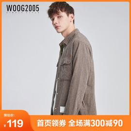 WOOG2005宽松格子男士长袖衬衫2020秋季夹棉加厚外穿潮流衬衣外套