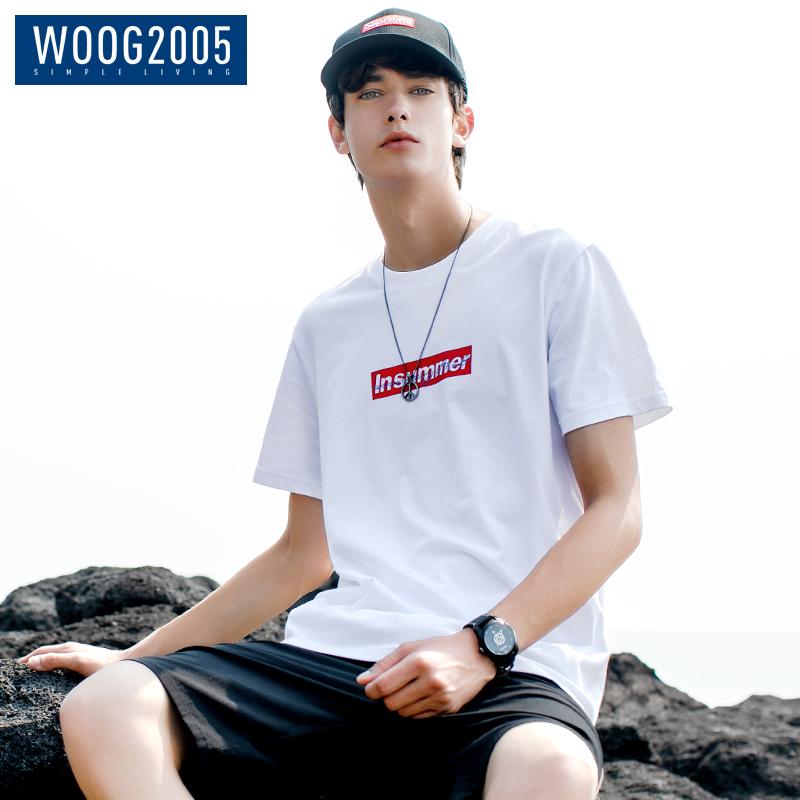 WOOG2005韩版潮流短袖t恤男2018夏季ins纯棉简约印花男士白色体恤