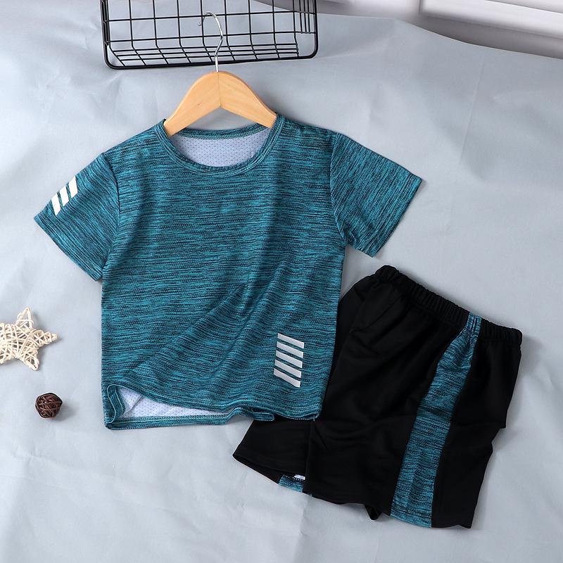 男童运动套装夏季薄款儿童t恤户外跑步速干衣女童短袖短裤两件套
