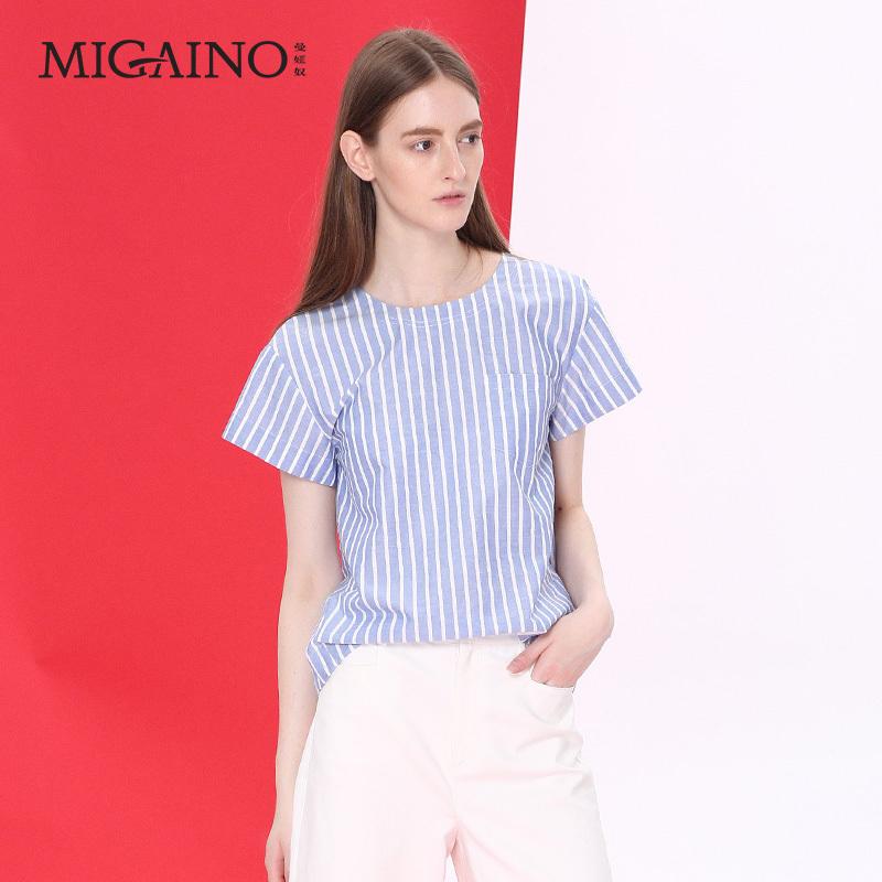 曼娅奴女装正品2017夏装新款时尚蓝白竖条纹短袖衬衣MH1AA005