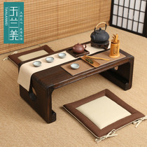 Solid wood double-hole floating window Table Kang table Japanese tatami small coffee table small family balcony table simple Tea table