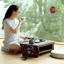Japanese solid wood simple tatami coffee table double floating window table with drawer table Kang table Kang several leisure table