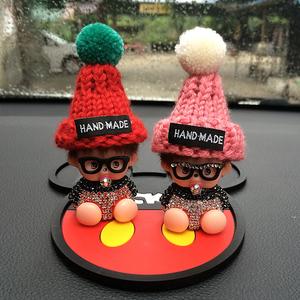 汽車擺件可愛蒙奇奇毛絨公仔車飾鑲鉆創意車內飾品情侶男女款祝福