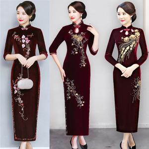 秋装高端婚礼妈妈长袖中老年旗袍